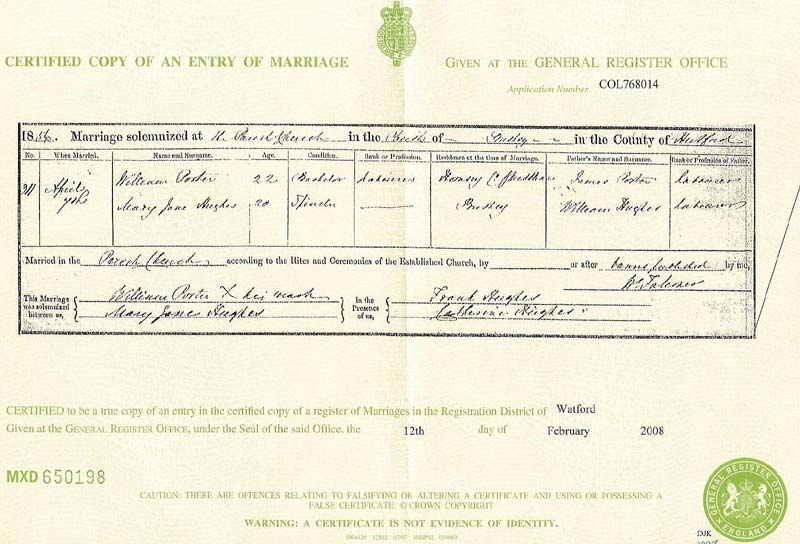 Marriage mary jane hughes 7 apr 1856 bushey certificate yadclub Image collections